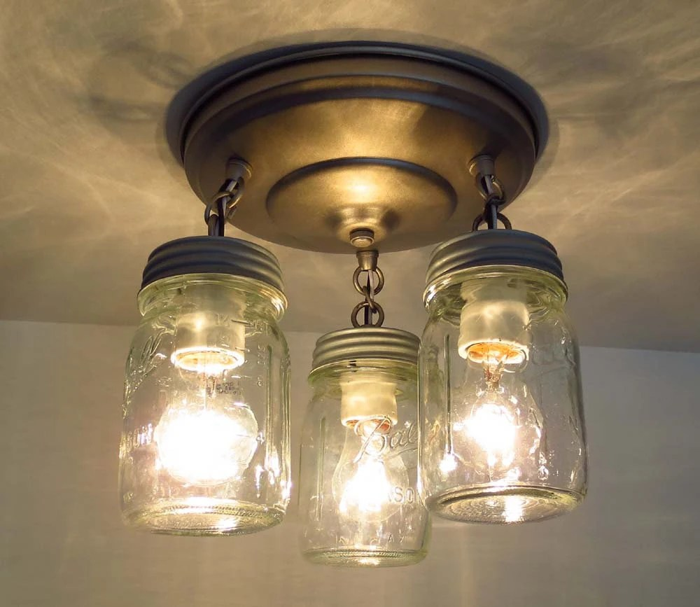 Canning Jar New Pint CEILING LIGHT Trio Mason Jar Chandelier