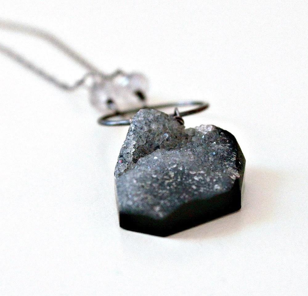 Druzy Necklace, Grey Drusy on Dark Black Oxidized Sterling Silver Chain, Nebula- OOAK - michabella