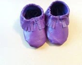 Purple Tribal Baby Moccasins soft-soled leather shoes for babies and toddlers re-purposed - Knottytots
