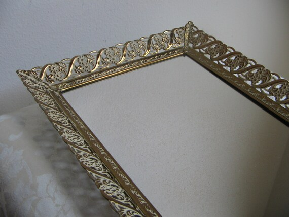 Vintage Vanity Tray Mirror Gold Whitewashed By