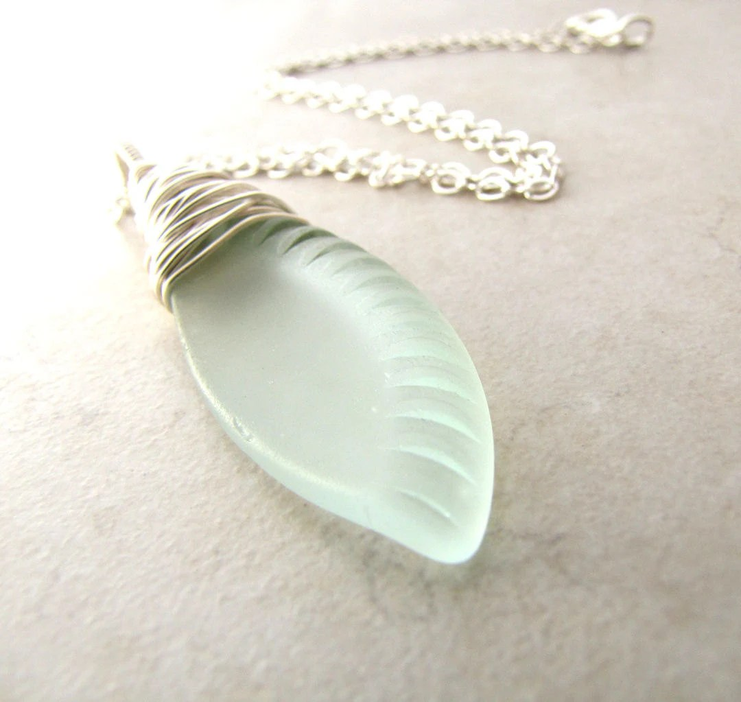 Sea Glass Seaglass Necklace Aqua Eco Recycled Bottle BellinaCreations Bellina Creations - BellinaCreations