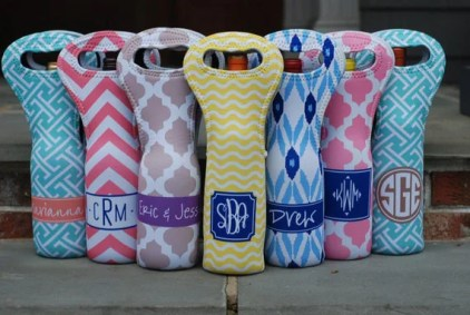 Monogram Wine Tote Bag Set/5 - Can be Personalized Monogrammed
