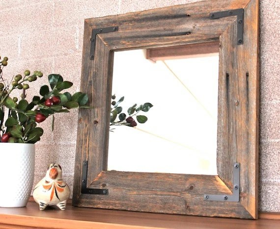 Ready To Ship Rustic Modern Mirror Reclaimed Wood Mirror