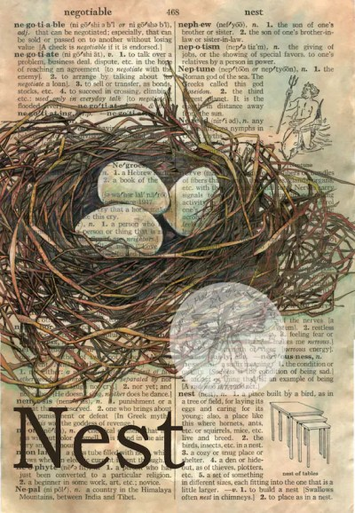 PRINT: Nest Mixed Media Drawing on Distressed Dictionary