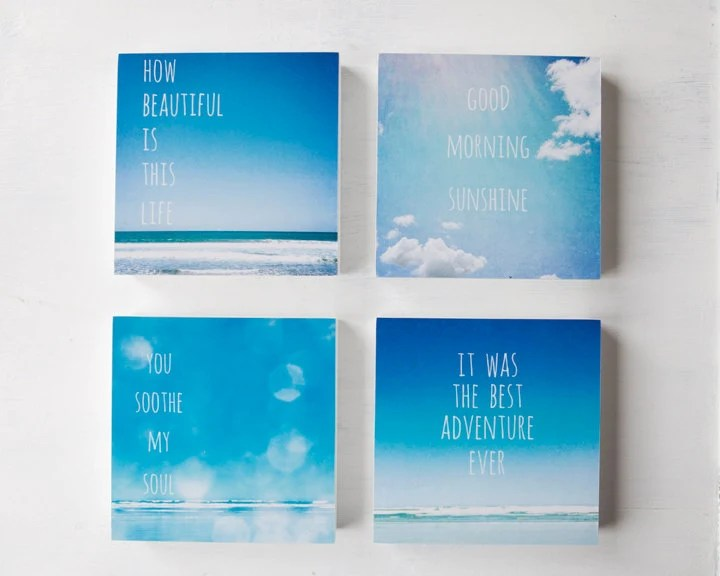 Set of 4 bright blue beach photo blocks - home decor wall art summer ocean typography beach decor - SusannahTucker
