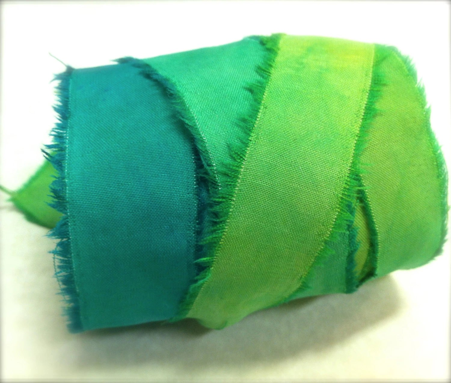 Hand Torn Emerald Green Recycled Silk Craft Ribbon, hand dyed 10 yards - GlindaBunny