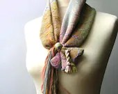 Handwoven Alpaca and silk naturally dyed  Neckwarmer - natural colors - Italian Fashion - Mireloom