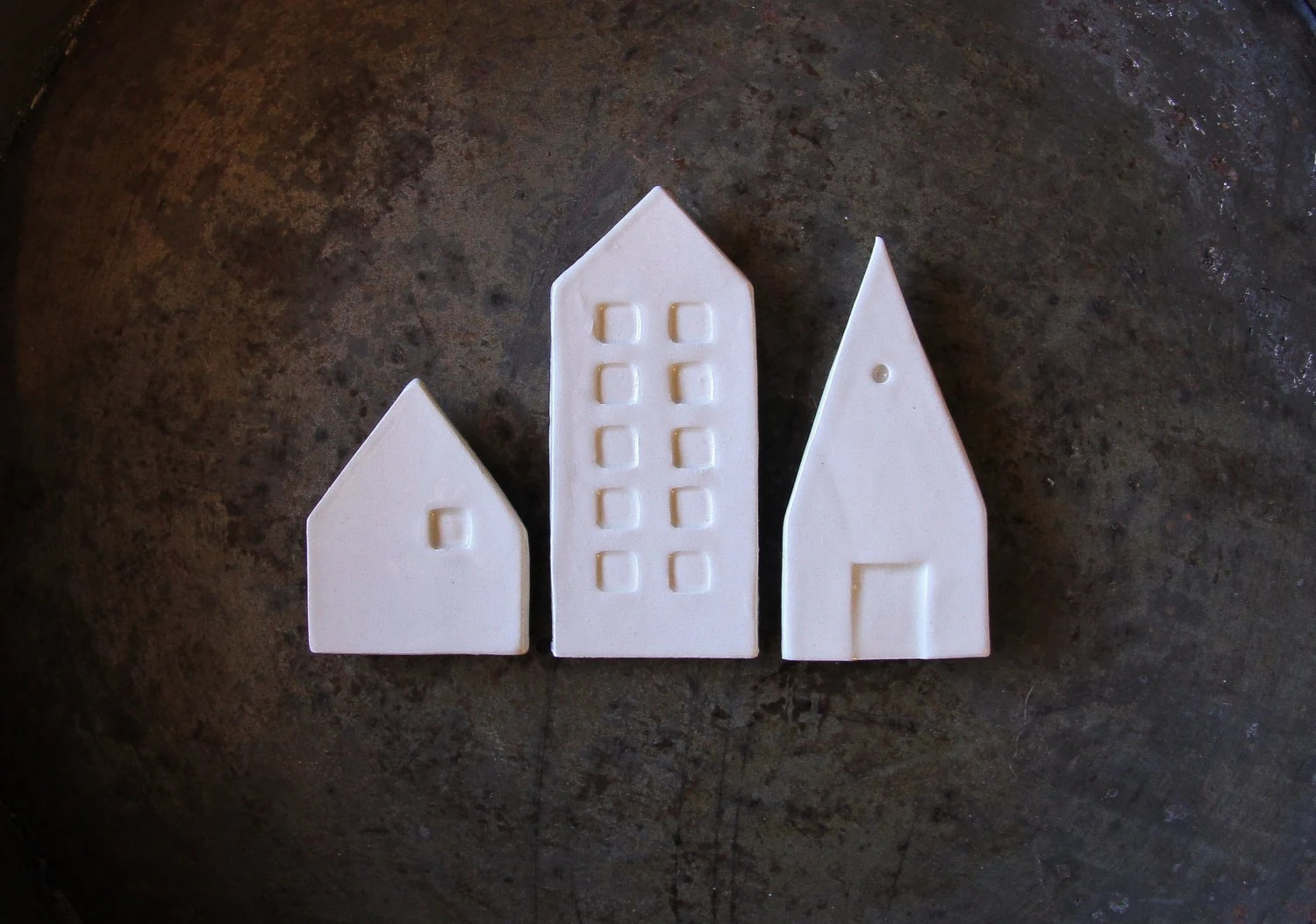 Ceramic mini city magnets, set of three white modern magnets for you inspiration board - cravestudio