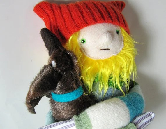 Boy Plush Doll with Hat and Dog