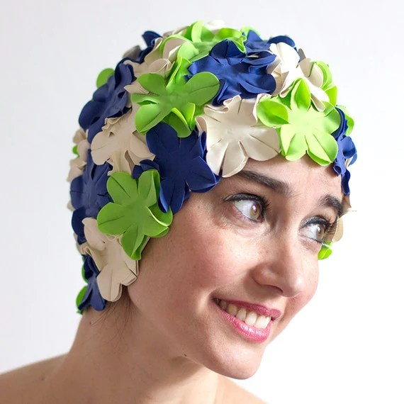 Flower swimming caps - white, green and blue