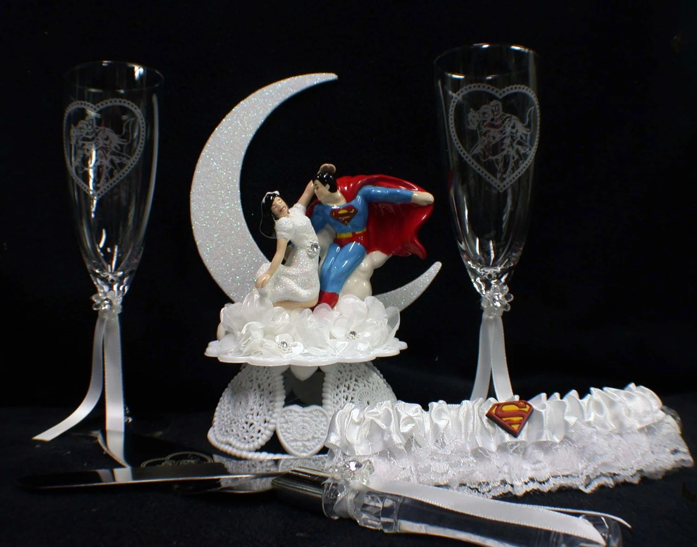 SUPERMAN Lois Lane Wedding Cake Topper LOT Glasses Knife
