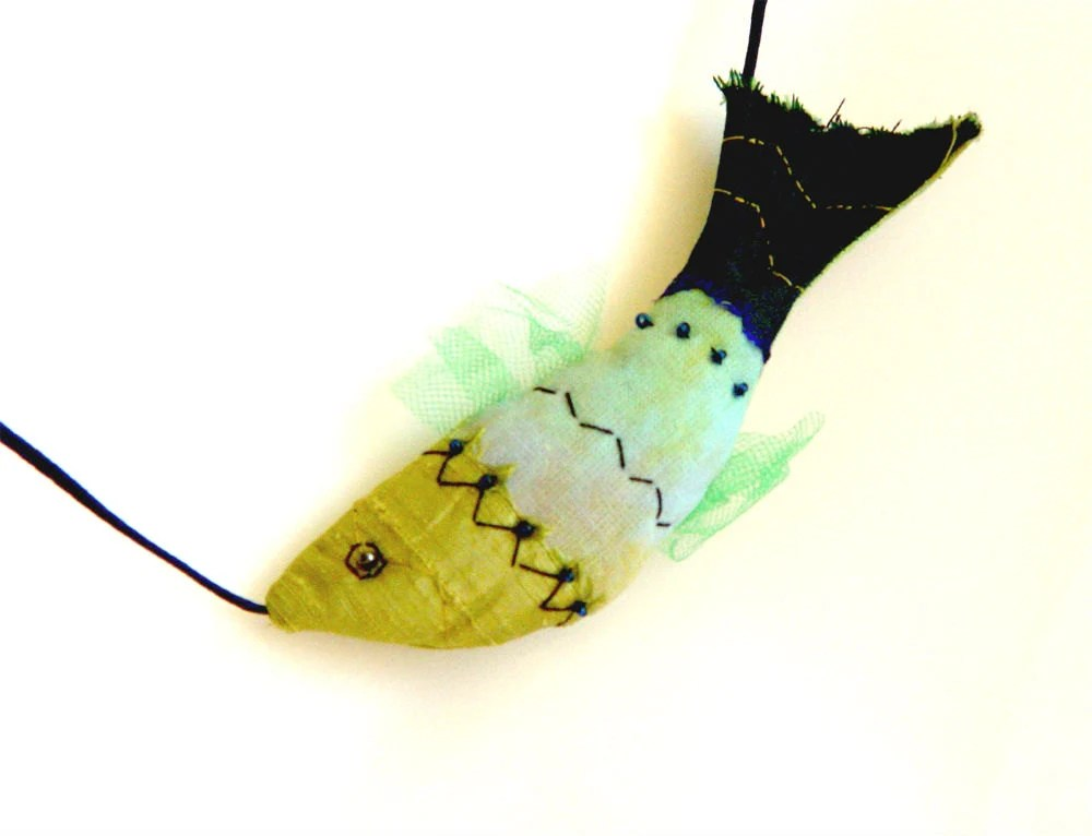 Funky  fish, art to wear, fish necklace, yellow green, art jewelry, fish pendant, textile jewelry