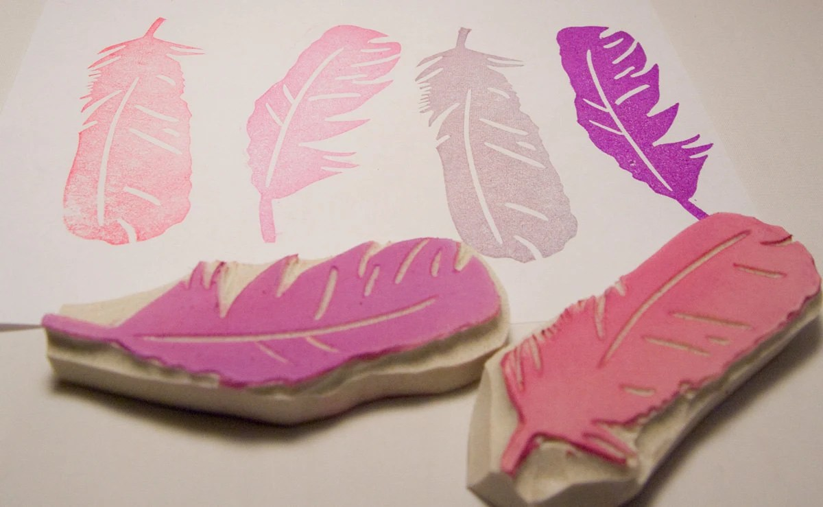 Feather Duo Rubber Stamp Set - Two Hand Carved Stamps - PoshBinky