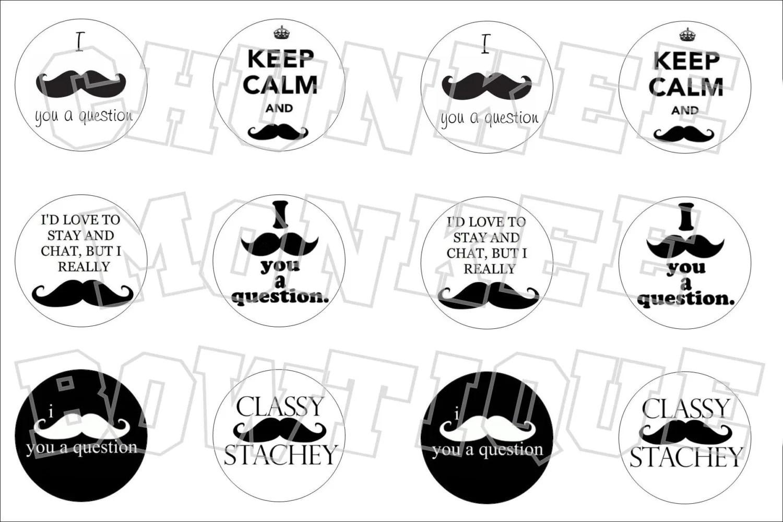 Mustache Sayings Bottlecap Image Sheet From