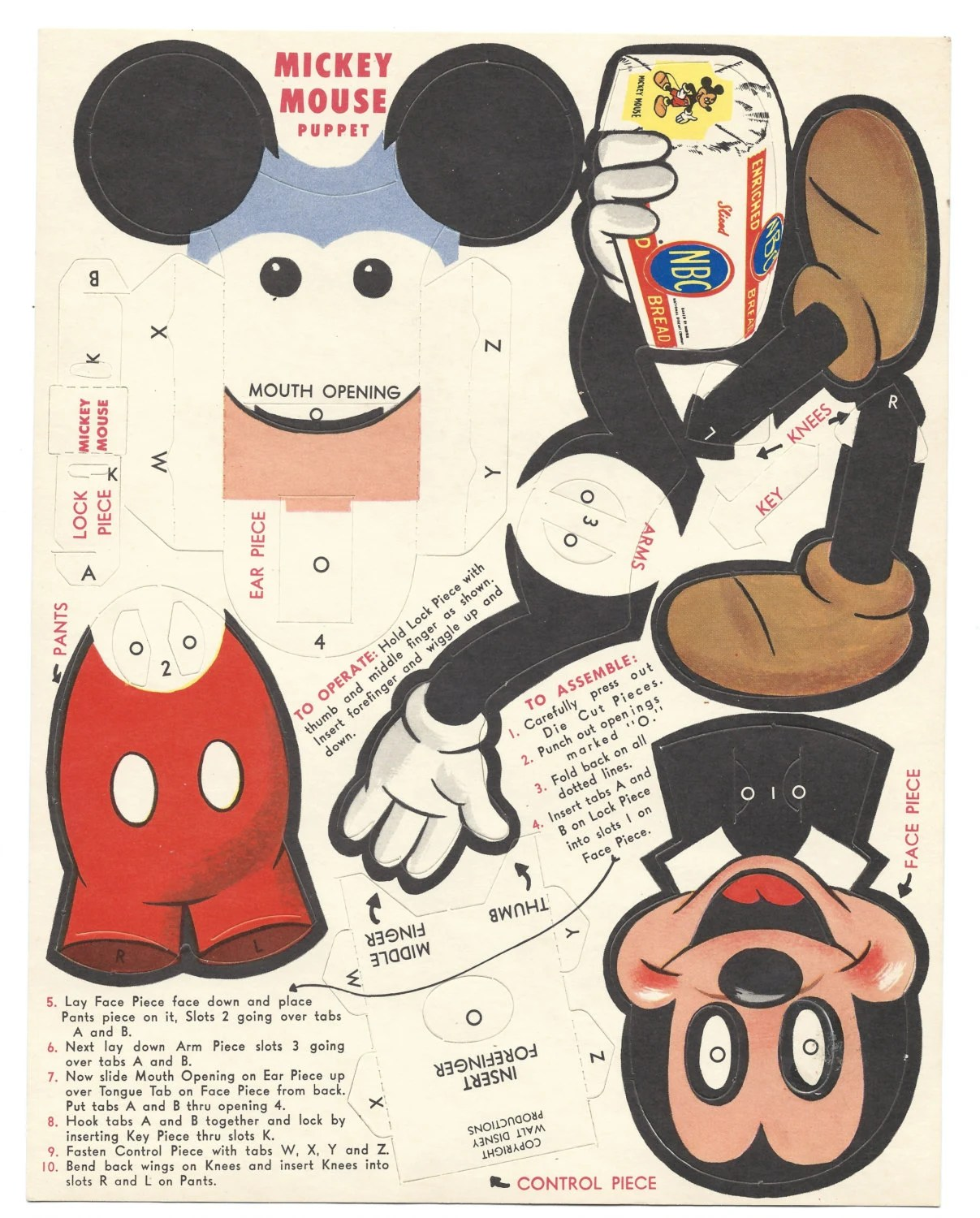 Old Unused Walt Disney Mickey Mouse Nbc Bread By