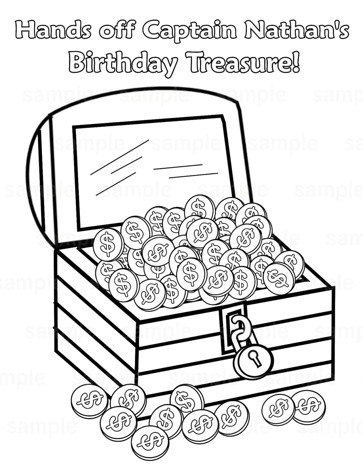 Personalized Printable Pirate Treasure Chest Birthday Party
