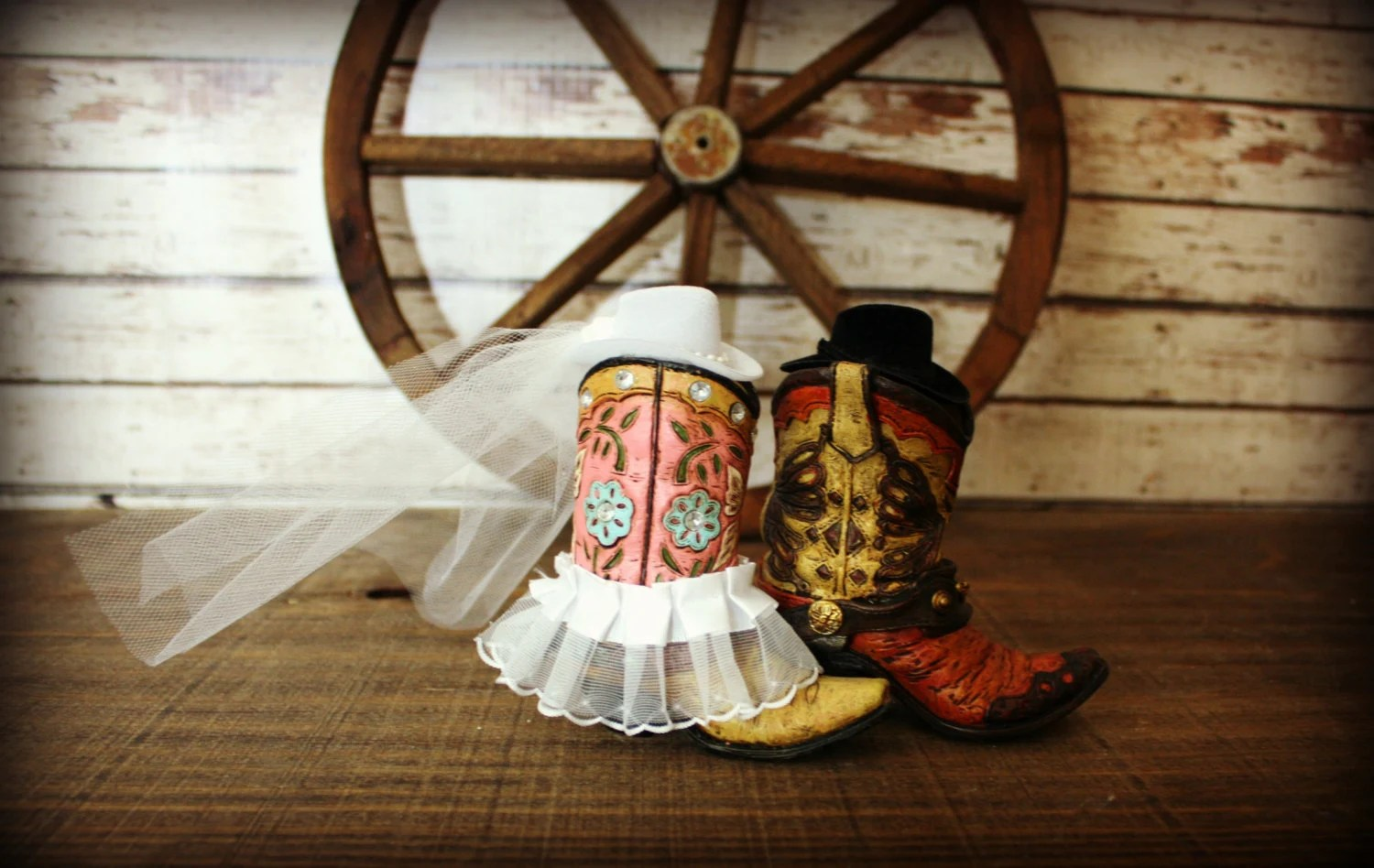 Cowboy Boots Wedding Cake Topper-Western By MorganTheCreator