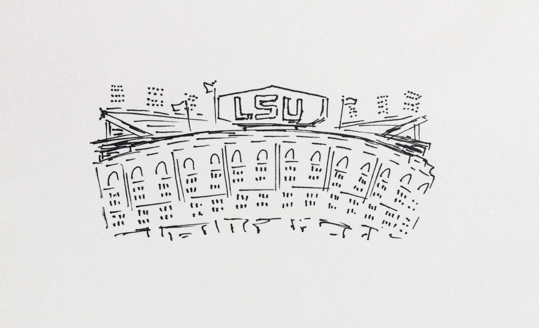 Lsu Tiger Stadium Sketch By Tealouandsweetpea On Etsy