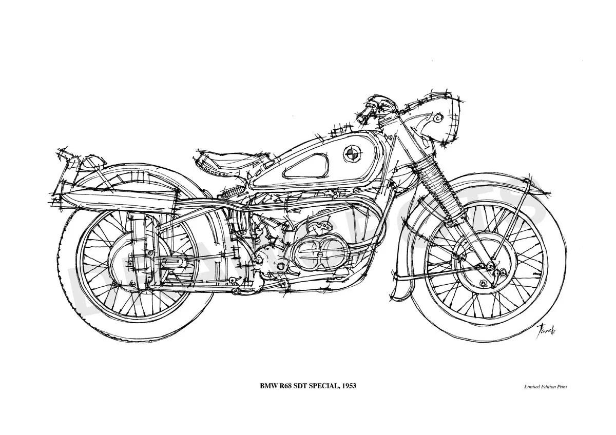 Bmw R68 Sdt Special Poster De Mi Dibujo Original Hecho A