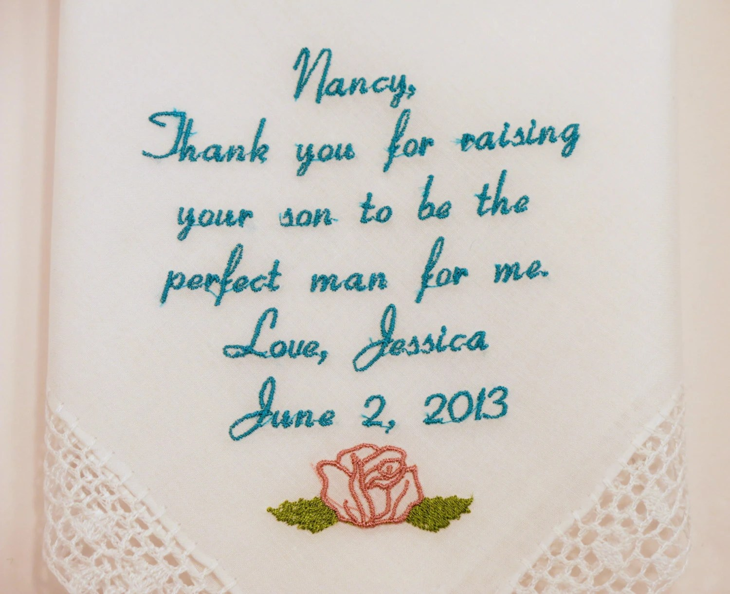 Mother In Law Wedding Gifts Personalized Embroidered