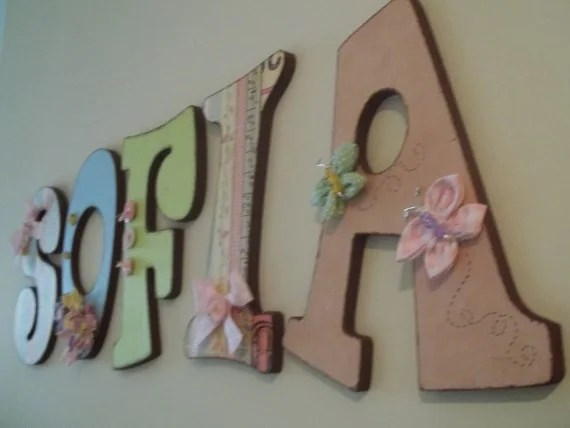 Set Of 5 DECORATED WOODEN LETTERS 9 Wood Letters