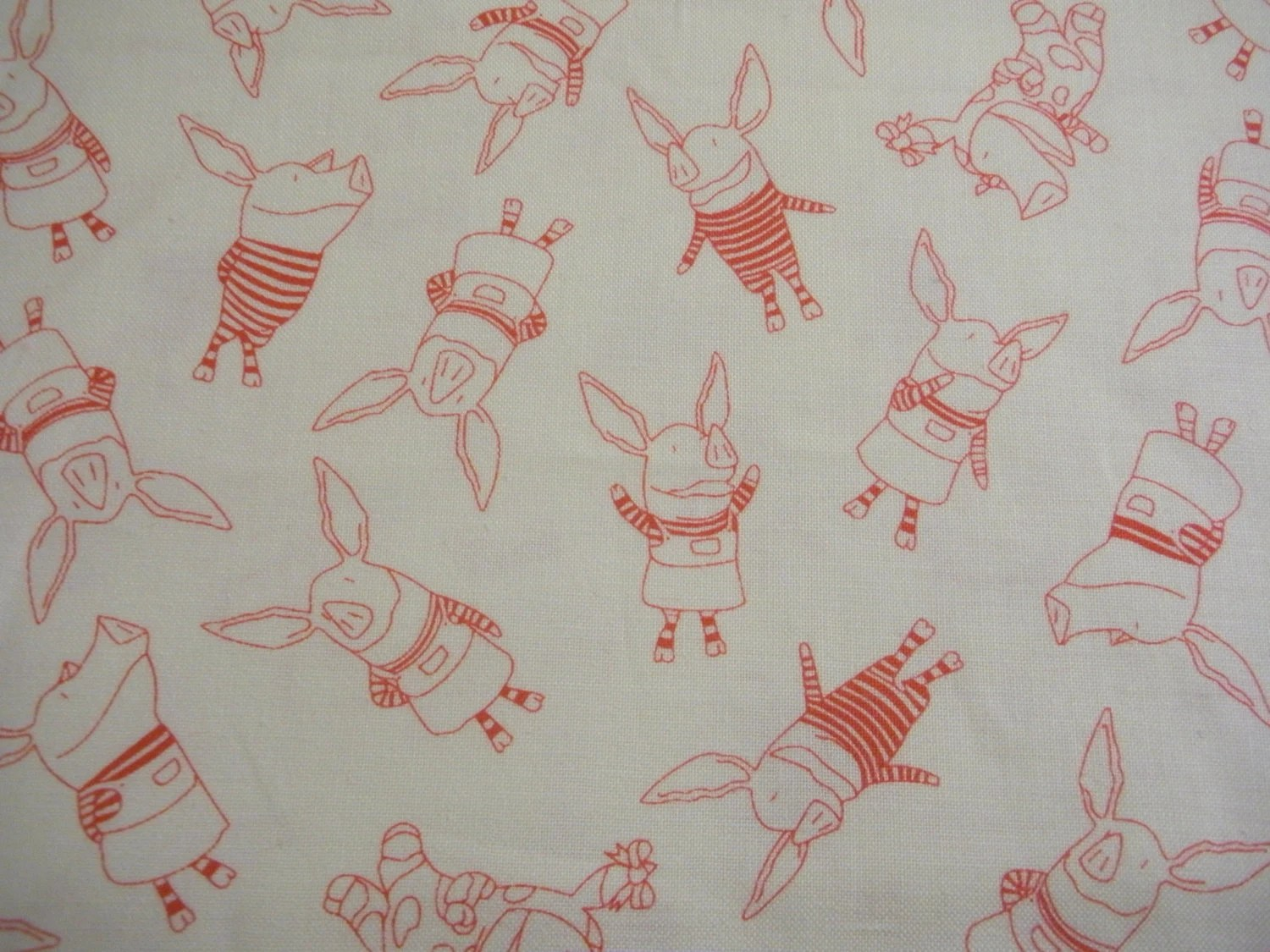 Olivia The Pig Fabric Out Of Print Cream Background Red