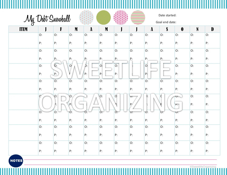 Payoff Debt Snowball Worksheet Digital By Sweetlifeorganizing