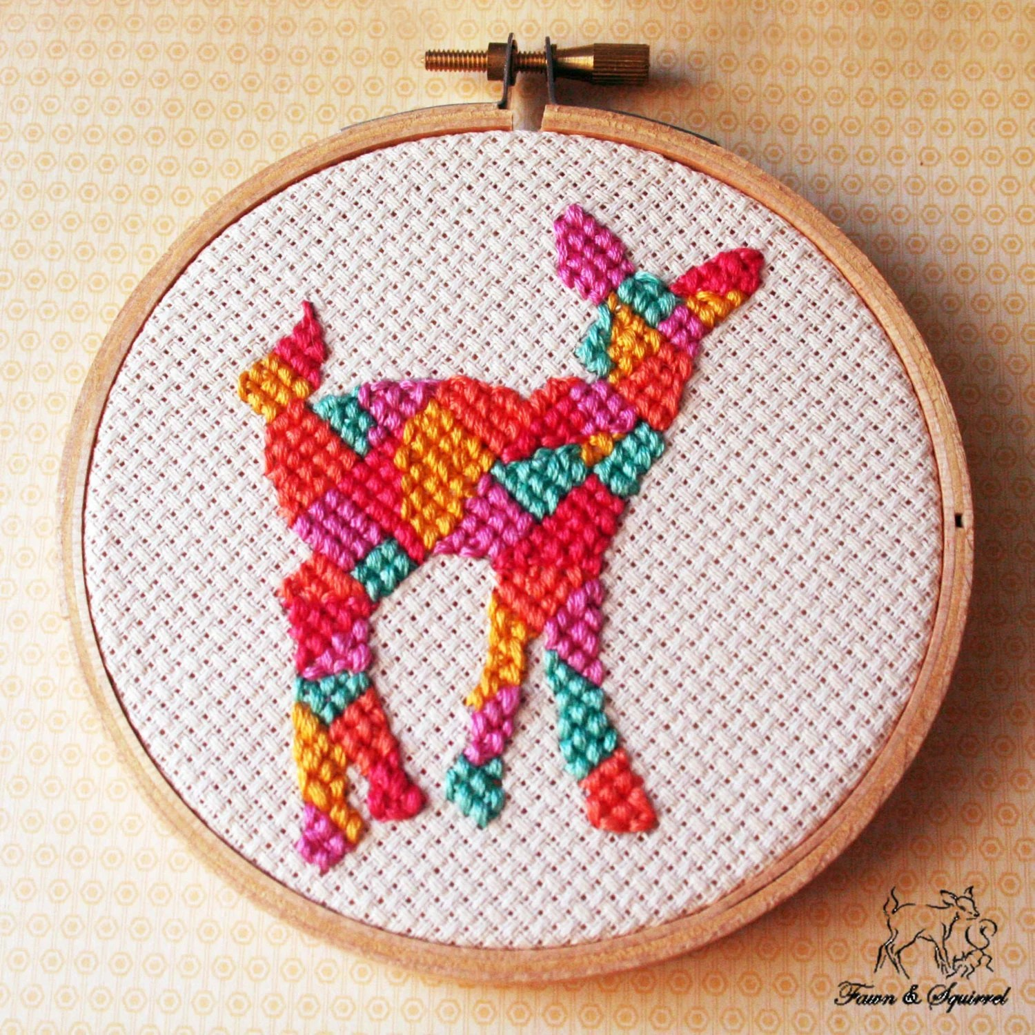 Deer -Handmade  Geometric Mini Woodland Cross Stitch Hoops Needlecraft