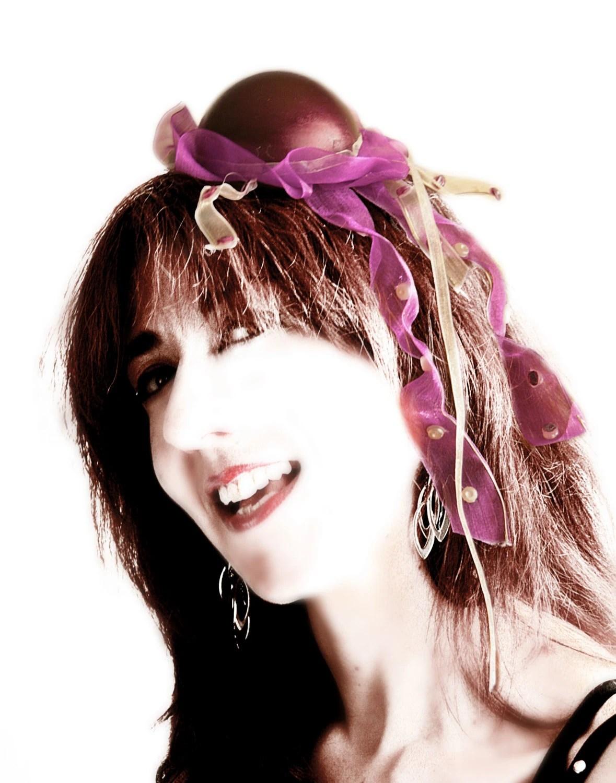 Ready to ship - PURPLE JELLYFISH' HAT - Burlesque fantasy purple ribbon violet mermaid mini top hat victorian steampunk renaissance seaside - ChimericalDragonfly