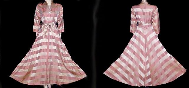 Vintage 1930s 1940s Flobert Satin Dressing Gown Rhinestone