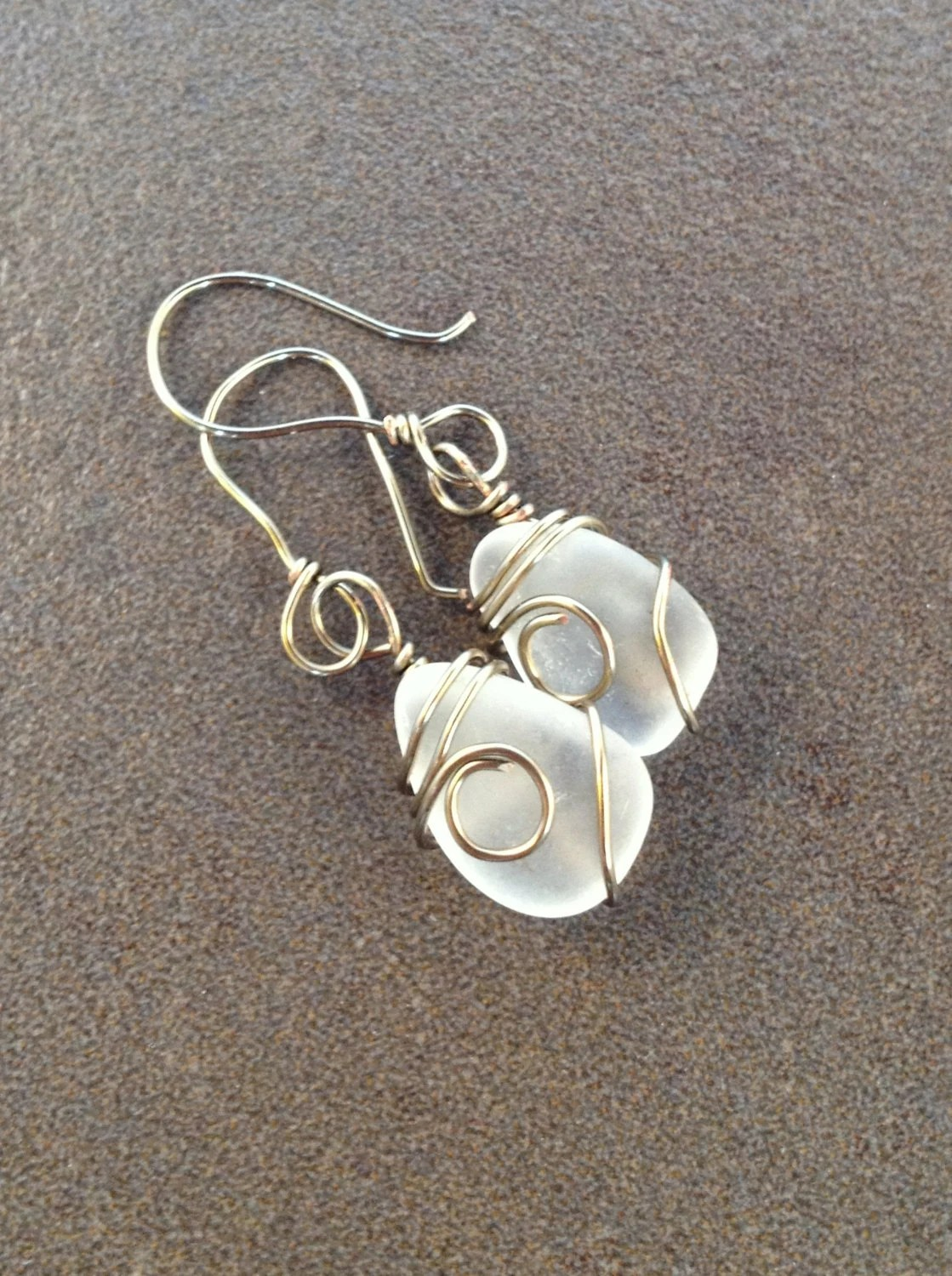 Bronze Copper Wire Wrapped Clear White Beach Glass Sea Glass Dangly Earrings