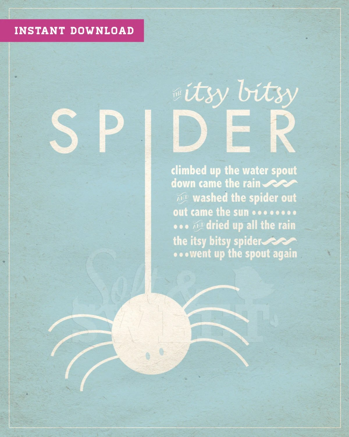 Instant Download Printable Itsy Bitsy Spider Art Print With