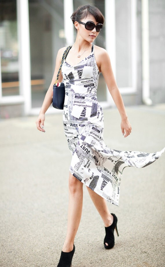 Cozy Chic Unique Newspaper Print Jersey Cotton Stretch Summer Vacation Cocktail Dress Black&white