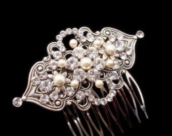 vintage hair b bridal hair b rhinestone hair b antique silver hair piece wedding