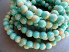 6mm Round Druk Beads - Turquoise Beige Druk - Premium Czech Glass Beads