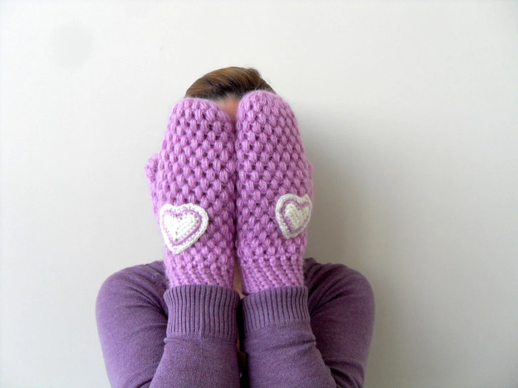 Crochet Gloves, Mittens, Gifts for Her, Christmas Gift, Lilac, Purple Gloves, Heart Gloves - SmilingKnitting
