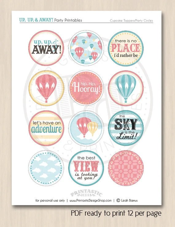 HOT AIR BALLOON Girl Birthday Party Circles Amp Cupcake Toppers
