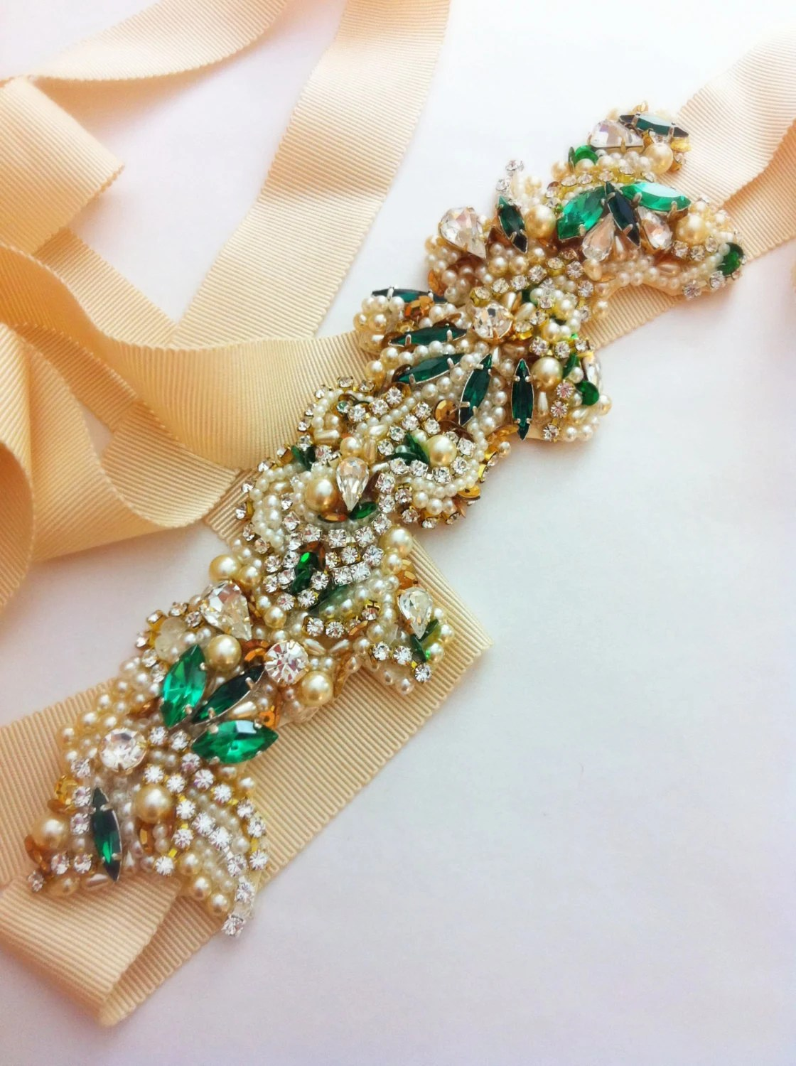 Gold And Emerald Green Bridal Belt Vintage By