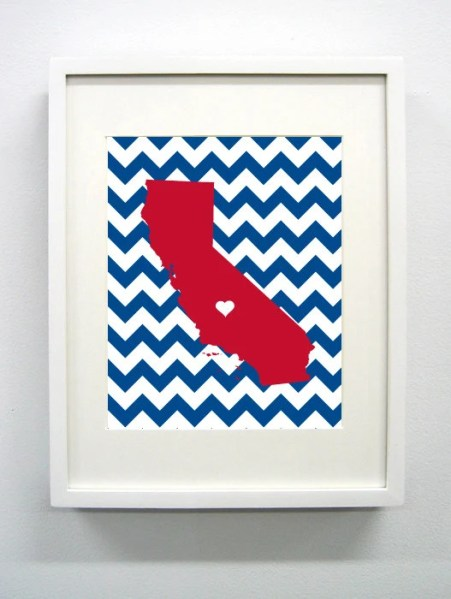 Fresno, California State Giclée Print - 8x10 - Cardinal and Blue University Print - Perfect College Dorm or Apartment Decor!
