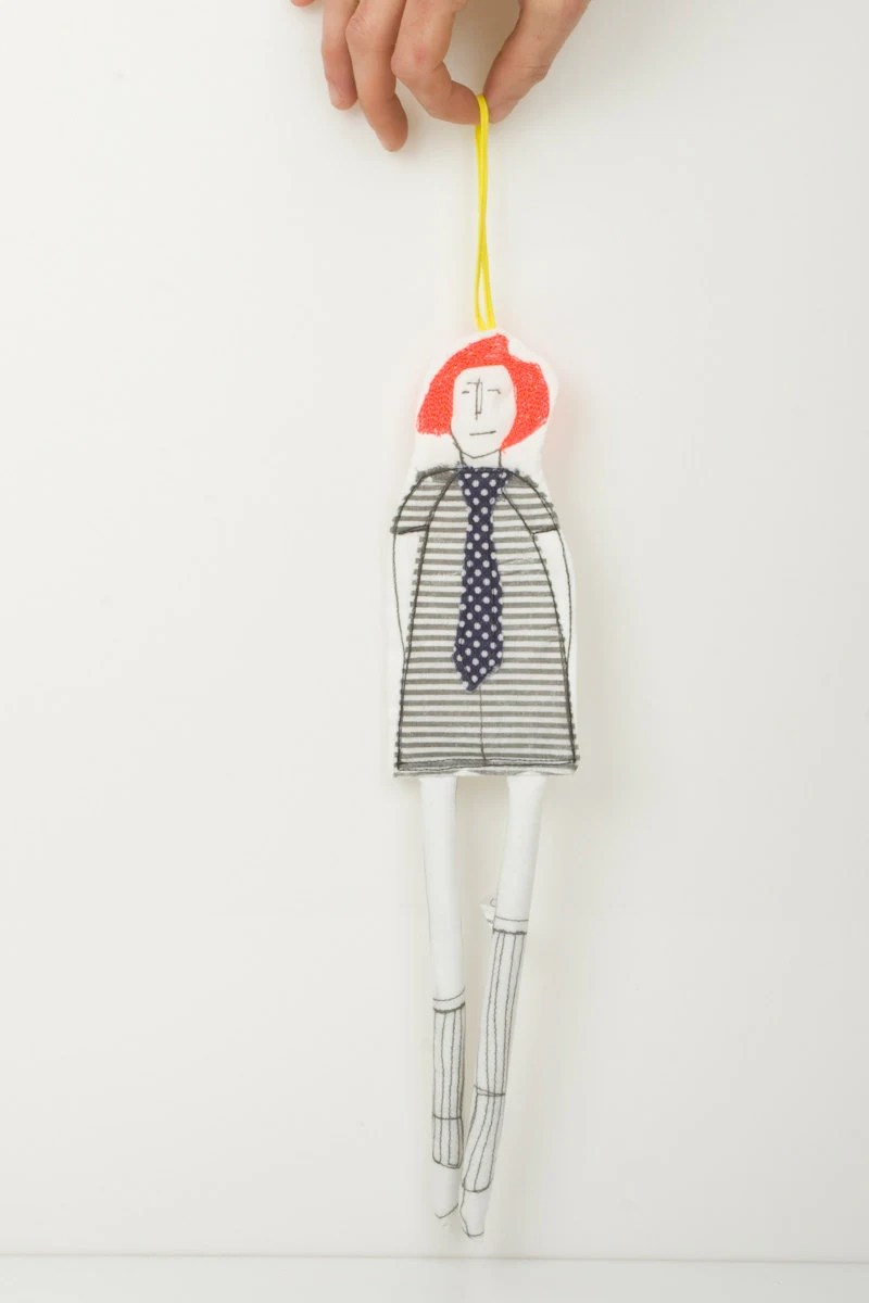 Black and white hip Teenager whit Glowing neon orange hair  -  Wearing striped dress and a polka dot tie - handmade fabric doll