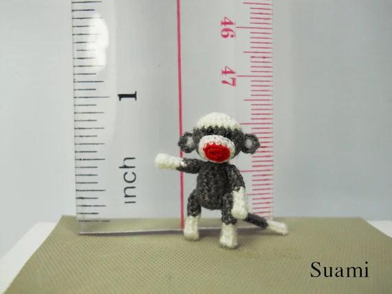 Tiny Sock Monkey 1 inch - Micro Amigurumi Crochet Miniature Sock Monkey Stuff Animal - Made To Order