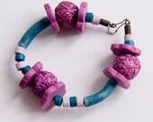 Handmade Purple Blue Beaded Bracelet, Purple Blue Ceramic Bead Bracelet, Purple Ceramic Bracelet, ceramic jewelry - WISHsupplies
