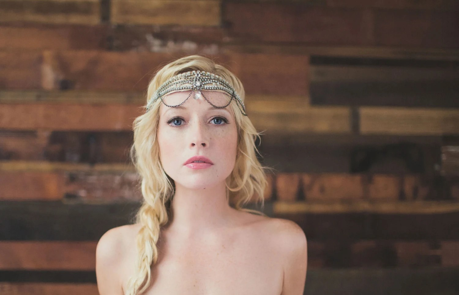 Swan Lake 1920s Style Crystal and Chain Deco/Bridal Headpiece-The Great Gatsby-Art Deco Headpiece-Vintage Bride Wedding