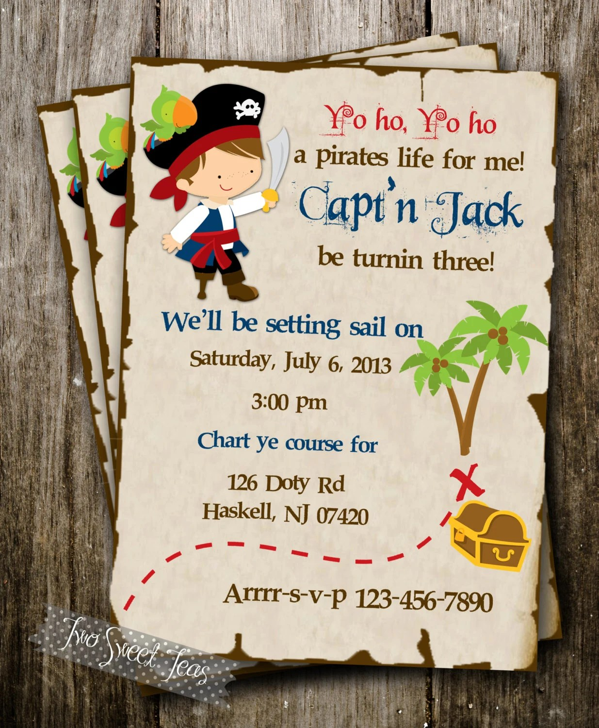 Pirate Treasure Ship Map Invitation Birthday Party By
