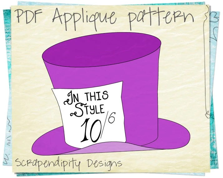 Alice In Wonderland Applique Template Design Mad Hatter