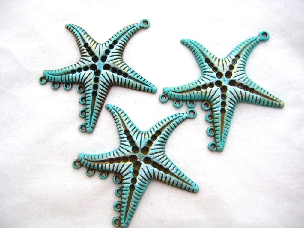 Patina Finished Antiqued Bronze Starfish Connector Pendant Stamping with Stone Recesses Finding Lot of 3, Settings - zoeJaneJewelrySupply