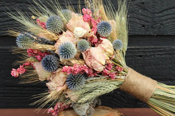 Wedding Bridal Bouquet And Matching Boutonniere Dried Flower