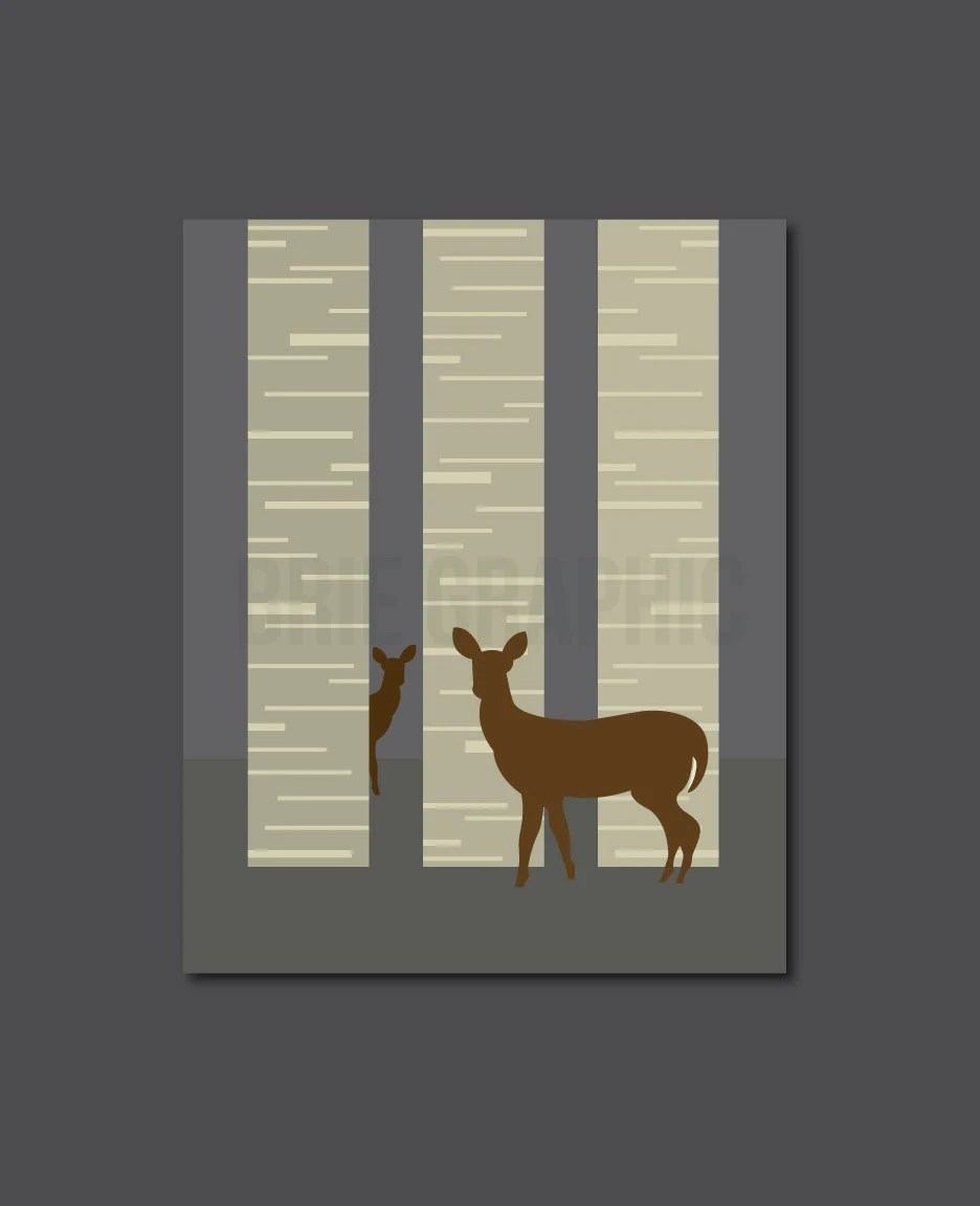 "Deer, Forest, Wilderness, Nature, Tree, Home Decor 8 x 10"" Print, Wall Art - BrieGraphic"