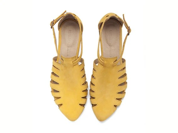 10% OFF, Alice, Yellow shoes, Flats, Leather Sandals, Handmade, Flat Sandals - TamarShalem