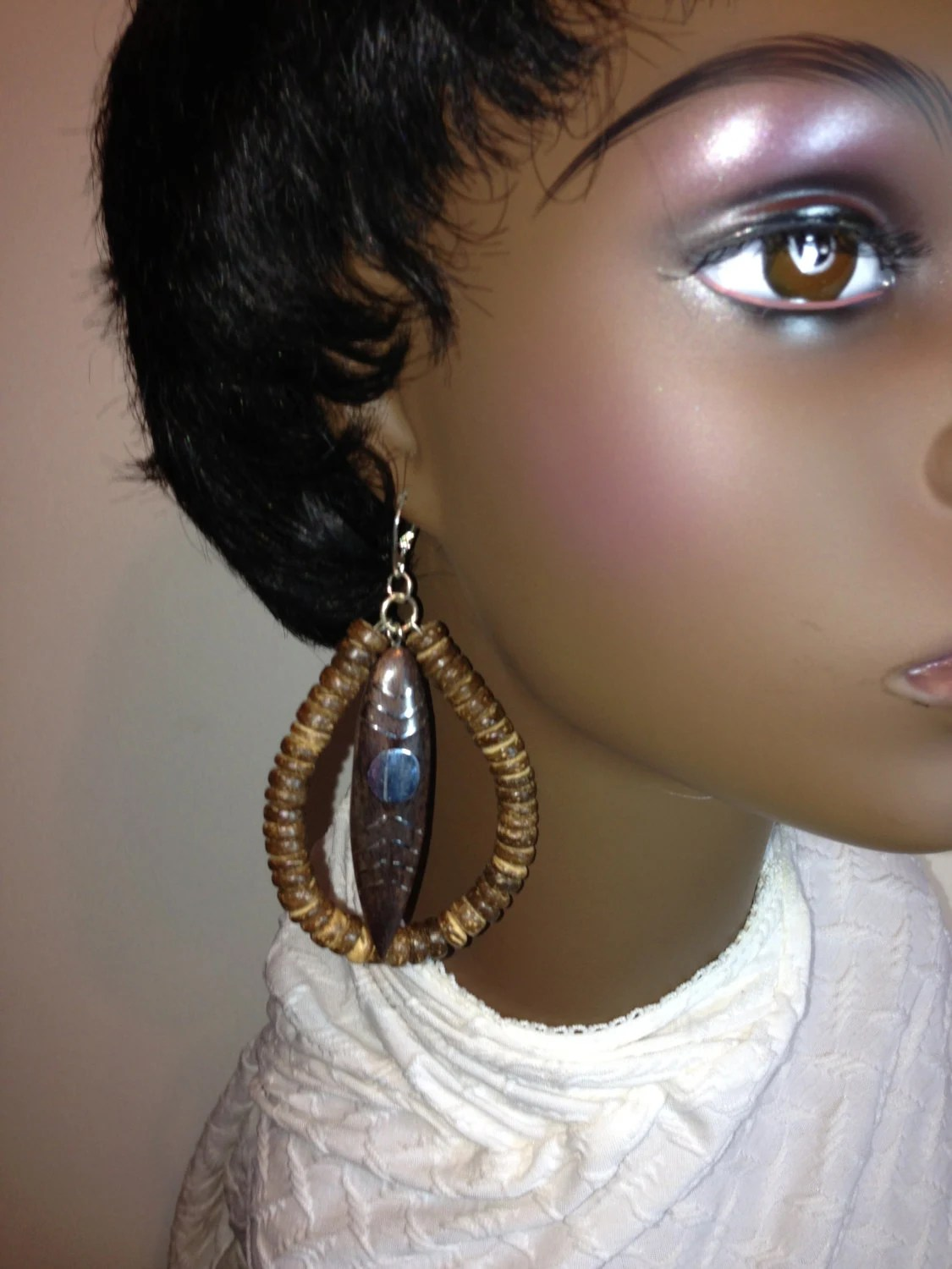 Womens African Tribal Wooden Earrings
